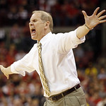 Michigan head coach John Beilein  tries to get his defense under control against Ohio State during the first half of an NCAA college basketball game Sunday, Jan. 13, 2013 in Columbus, Ohio.  …