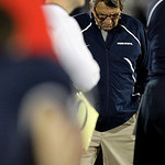 In this Saturday, Nov. 7, 2009 photo, Penn State coach Joe Paterno walks the sideline during the second half of an NCAA college football game against Ohio State in State College, Pa. Ohio St …