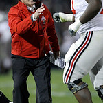 Ohio State head coach Jim Tressel shouts at Bryant Browning as he runs off the field during the second half of an NCAA college football game against Penn State in State College, Pa., Saturda …