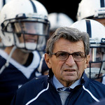 In this Saturday, Nov. 7, 2009 photo, Penn State Coach Joe Paterno stands with his players before taking the field for an NCAA college football game against Ohio State in State College, Pa.  …
