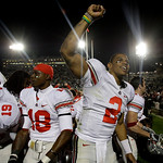 Ohio State quarterback Terrelle Pryor  (2) celebrates with the Ohio State student section after defeating Penn State 24-7 in an NCAA college football game in State College, Pa., Saturday, No …