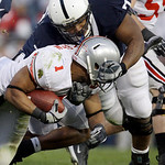 Penn State defensive lineman Devon Still (71) takes down Ohio State running back Dan Herron (1) during the first half of an NCAA college football game in State College, Pa., Saturday, Nov. 7 …