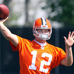 New Browns QB Colt McCoy throws a pass during rookie camp.