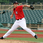 Lake Erie Crushers pitcher Jason Wilson pitches against Evansville in the ninth inning Sunday afternoon. ANNA NORRIS/CHRONICLE