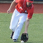 Lake Erie Crusher's left fielder Zach Bricknell fields a ground ball. KRISTIN BAUER | CHRONICLE