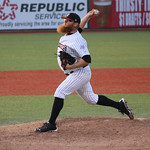 Crushers Brant Masters came in as a relief pitcher. CHRISTY LEGEZA/CHRONICLE