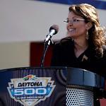 Former Alaska Gov. Sarah Palin greets  fans prior to the start of the Daytona 500 NASCAR auto race at Daytona International Speedway in Daytona Beach, Fla., Sunday, Feb. 14, 2010. (AP Photo/ …