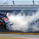 Sam Hornish Jr (77), Regan Smith (78) and Brad Keselowski (12) crash during the NASCAR Daytona 500 auto race at Daytona International Speedway in Daytona Beach, Fla., Sunday, Feb. 14, 2010.  …