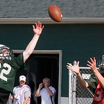 Elyria Catholic Interception by red player. Photo by Tom Mahl