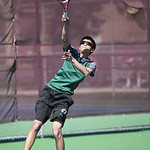Doubles champion from Westlake Ameesh Shah serves in the final match at the SWC tennis tournament. RAY RIEDEL/CHRONICLE
