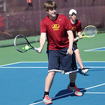 Doubles runner-up team from Avon Lake Matt Duskey, left, and James Moore in the final match at the SWC tennis tournament. RAY RIEDEL/CHRONICLE