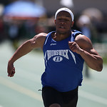Brunswick's Norman Richie (center) places 2nd in the 100m dash at the 2014 Comet Relays. photo by Ray Riedel