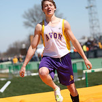 Avon Sophomore, Kyle Longrich celebrates a personal record of 13' in the pole vault at the 2014 Comet Relays and a third place. photo by Ray Riedel