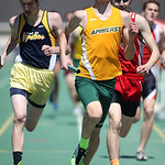 Noah Haramia, of Amherst, runs the 1st leg of the Marion Steele 2nd place 4x800m relay team at the 2014 Comet Relays. photo by Ray Riedel