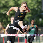 Steele Wasik dominates his heat of the 300m hurdles at the OHSAA state championship. photo by Ray Riedel