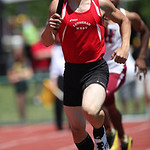 Lutheran West's Hunter Ross runs the 2nd leg of the 4x400m prelim race at the OHSAA state championship. photo by Ray Riedel
