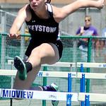 Keystone's Jenna Quillen runs in the girl's 100m hurdles.   KRISTIN BAUER | CHRONICLE