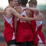 The Firelands 4×400 Relay team celebates their win to give them the meet victory over Buckeye.
