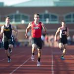 Peter Koza of Lutheran West winning the 200 Meter Dash