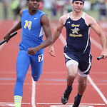 "Paul Sonego, right, of North Ridgeville battles ""N Man"" Jamiel Trimble of Cincinnati to the finsh of the 4x100m prelim race at the OSHAA state track meet in Columbus, OH. photo by Ray Riedel"