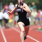 Emily Peters of Keystone finishes the 4x100m relay at the OSHAA state track meet in Columbus. photo by Ray Riedel