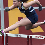 Lorain's Destiny Wilson qualifies for the finals in the 100m hurdles prelim at the Avon Lake Invitational Meet. photo by Ray Riedel