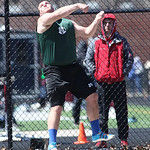 Medina's Mike Hierholzer hurls a 1st place throw in discus at the Avon Lake Invitational Meet. photo by Ray Riedel