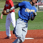 Clearview's Antonio Bennett heads for third base with an RBI triple in the first inning.  STEVE MANHEIM/CHRONICLE