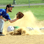 Columbia's Michael Boey slides safe on a passed ball before the throw reaches Clearview Jack Bennett in first inning May 8.  Steve Manheim