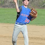 Open Door's Ryan Emilio throws to first base April. 24.  STEVE MANHEIM / CHRONICLE
