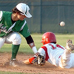 Firelands #14 Joe San Felippo slides safely into second as the ball gets away from Holy Name's #2 Tyler Sullivan.