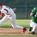 Holy Names's #12 Dan Cora is out at second as Fireland's #15 Cole Sklarek makes the catch.