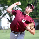 Wellington's Nick Carevic winds up to pitch against Oberlin in the bottom of the second inning in the sectional game yesterday at Wellington High School. The Dukes beat Oberlin in extra inni …
