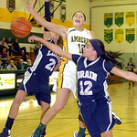 Amherst's #10 Brianna Shagovac is fouled as she tries to shoot past Lorain's #12 Angelique Flores and #21 Destiny Wilson.