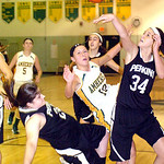 Amherst's #10 Brianna Shagovac is fouled by Perkins' #24 Abbey Seeholzer and the ball is knocked away by #34 Emily Wagner.