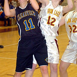 Clearview's #11 MacKenzie Mielcarek tries to shoot past Avon Lake's #12 Logan LeDuc.