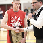 Kody Bender speaks with Tim Alcorn of WEOL as he is awarded Lorain County Mr. Basketball. photo by Ray Riedel