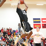 Devon Andrews winner of the dunk competition at Oberlin College. photo by Ray Riedel
