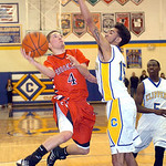 Brookside's David Rangel drives around Clearview's Jason Young. LINDA MURPHY/CHRONICLE