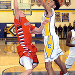 Clearview's Jason Young blocks a shot by Brookside's David Rangel. LINDA MURPHY/CHRONICLE