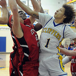 Clearview's Gerrell Williams goes for rebound with Lutheran West's Max Quinn. STEVE MANHEIM/CHRONICLE