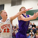 Vermilion's Forrest Boyd shoots against Buckeye's Chris Vogt during the third quarter of the Westlake district semi-final game. (RON SCHWANE / CT)