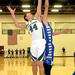 Westlake's Gavin Skelly, left, and Bay's Rex Sunahara fight for the rebound. LINDA MURPHY/CHRONICLE