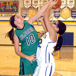 Columbia's #10 Emily Viccarone blocks Clearview's #32 Raquel Santana's shot.