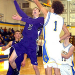 Keystone's #2 Collin Fitzgerald tries to shoot past Clearview's #1 Gerrell Williams.