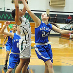 EC Karissa McGrath and Bay Nora Ziebarth go up for rebound Feb. 13.  Steve Manheim