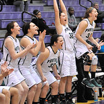 The Elyria Catholic bench celebrates a three-point basket in the fourth quarter against Rootstown. DAVID RICHARD / CHRONICLE