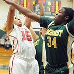 Elyria Mary Jones is fouled by Amherst Brooke Wallace in first half of Div. I district on Feb 27.  Steve Manheim