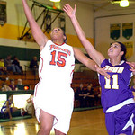 Elyria's #15 Mary Jones shoots past Avon's #11 Sierra Davidson.