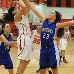 Elyria Shayla MIddlebrooks shot over Brunswick Monica Wasson in first half Dec.12.  Steve Manheim